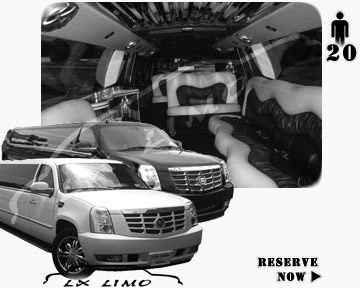 Cadillac Escalade 20 passenger SUV Limousine for rental in Dallas, TX